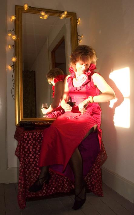 rose-zijden-jurk-zon